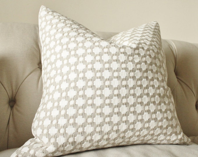 Schumacher - Betwixt - Stone Gray Pillow - Neutral Grey Designer Pillow - Greige White - Throw Pillow - Designer Pillow