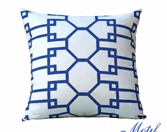 "SALE 25.00 18"" or 20"" - Quadrille Blue and White Pillow - Quadrille Brighton Pillow - Designer Pillow - Decorative Pillow - Throw Pillow"
