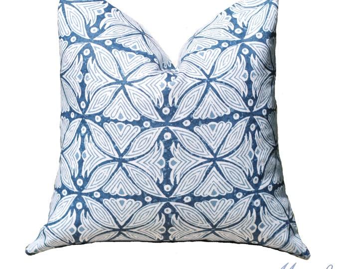 Blue and White Geometric Pillow - Martyn Bullard Pillow Cover - Blue Moroccan Pillow - Blue Geometric Linen Pillow - Designer Throw Pillow