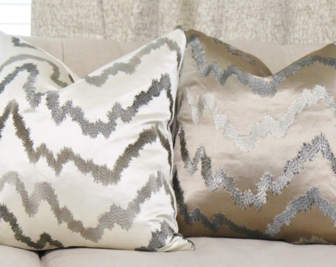 Embroidered Chevron Brown Black and Gray Pillow Cover -Hollywood Regency - Graphic Throw Pillow - Rubelli Rodeo Silver
