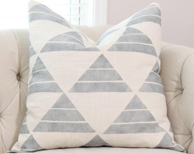 Zak & Fox Designer Uroko - Blue Pillow Cover - Geometric Throw Pillow - Neutral Pillow - Tribal