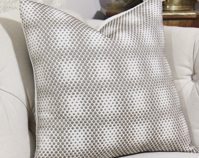 Sale - 25.00 Modern Neutral Pillow Cover - 16 x 16 or lumbar Stone Gray and Bronze Geometric Pillow Cover - Beige Geometric