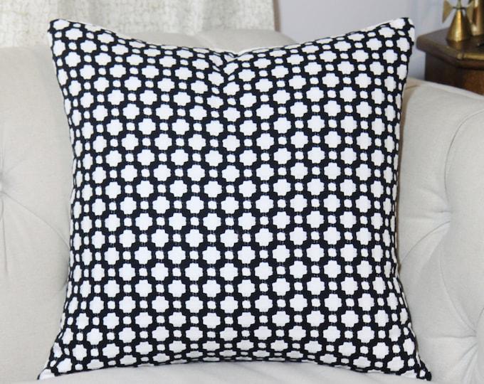 Schumacher Betwixt Pillow - Black and White Designer Pillow - Black Geometric - Throw Pillow - Designer Pillow - Black Home Decor