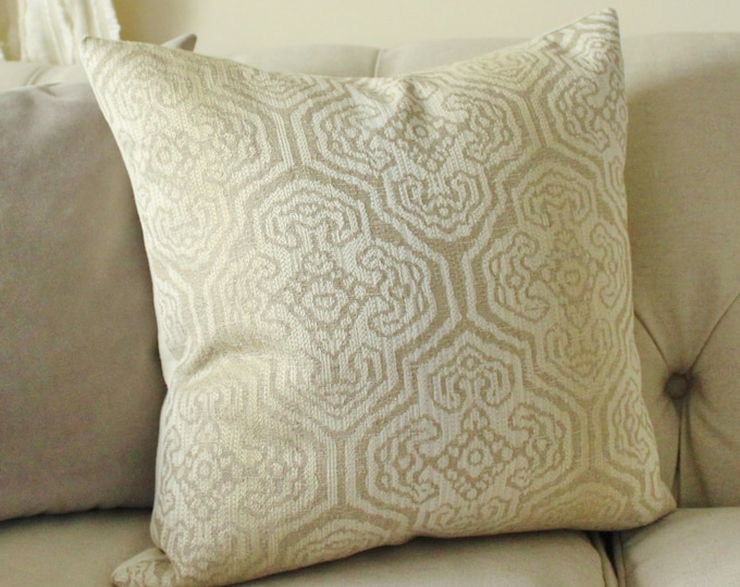 Sale - Moroccan Neutral Pillow Cover - Champagne Ivory Beige Medallion Pillow Cover - Cushion - Designer Throw Pillow - Motif