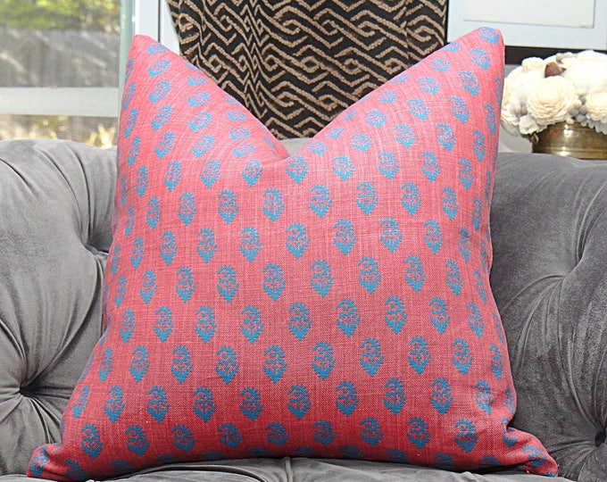 Peter Dunham Rajmata Tonal Pillow Cover - Modern Linen Pink & Blue - Motif Pillows - Global home decor