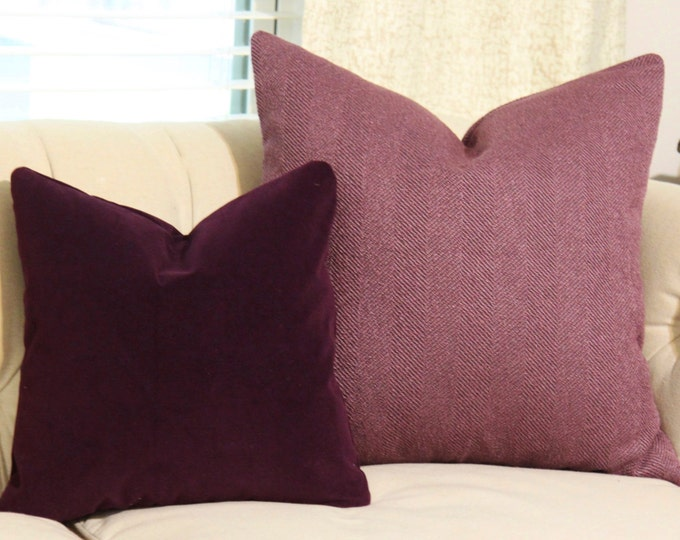 Eggplant Pillow Cover - Deep Purple Pillow Cover - Plum Pillow - Dark Purple Pillow - Eggplant Cushion - Motif Pillows