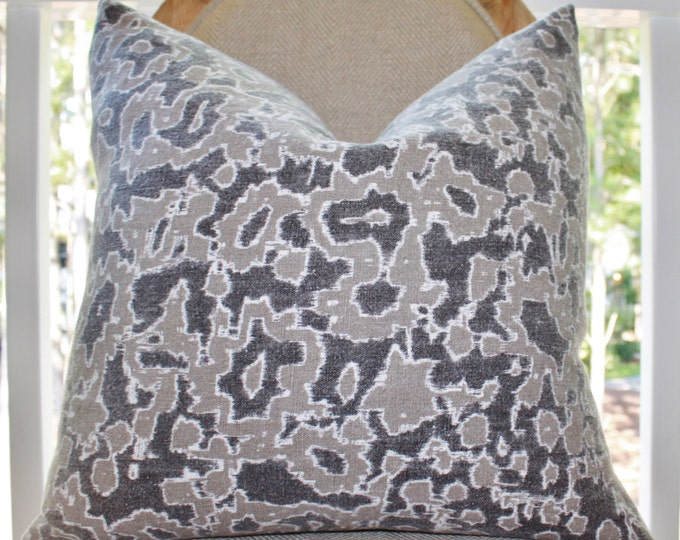Schumacher Gray and Taupe Linen Pillow Cover -Charcoal Geometric Scroll Pillow Cover - Throw Pillow