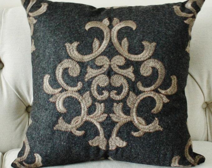 Schumacher - Gray Geometric Pillow Cover - Grey Brown Pillow Cover - Charcoal Pillow Cover -  Throw Pillow - Grey Pillow - Moroccan Pillow