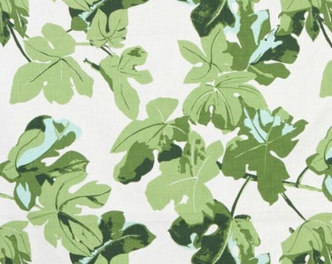Peter Dunham Pillow Cover - Fig Leaf Print on White Linen