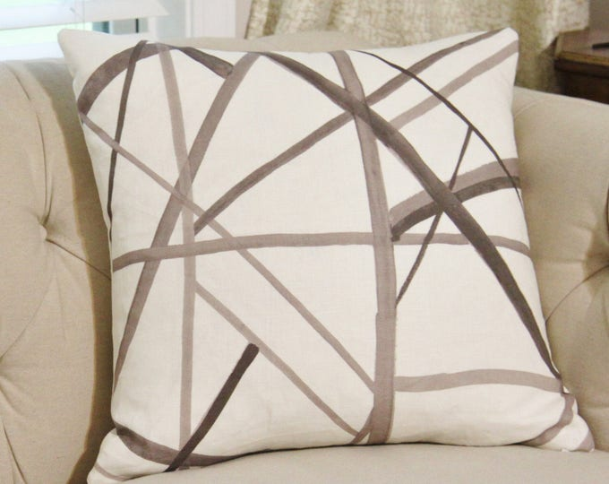 Back ordered until October 12th -Kelly Wearstler Channels Pillow Cover - Taupe Ivory - Brown & Off White Pillow Cover - Geometric - Neutral