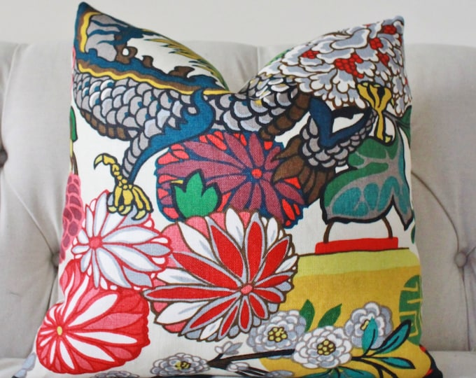 Chiang Mai Dragon - Decorative Pillow Cover -  Schumacher Alabaster - Blue Turquoise Teal Coral Purple Pink Pillow