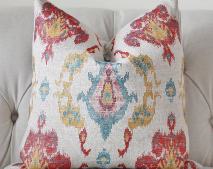 Sale 35.00 - Red Turquoise Blue Gold and Khaki Geometric Pillow Cover - Muted Multi Colored Pillow Cover - Throw Pillow