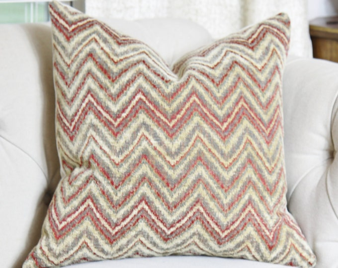 "SALE 35.00 18"" or 20"" - Red Zig Zag - Gold Gray Red Chenille Throw Pillow - Large Scale Graphic Pillow Cover - Gray Pillow - Gold Pillow"
