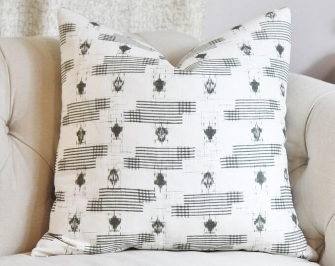 Zak and Fox Designer Linen Pillow - Gray Bohemian Pillow Cover - Grey Ikat Throw Pillow - Modern Pillow - Geometric Neutral Pillow - YAMATO