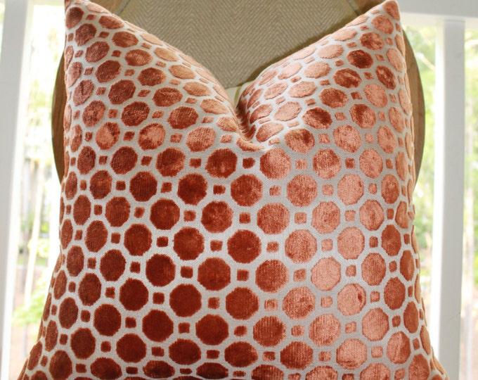 Sale 25.00 - Decorative Designer Pillow- Geometric Copper Velvet Pillow - Throw Pillow - Robert Allen - Rust