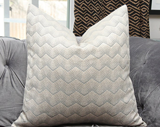"Ready to Ship - 22"" Single Sided Kelly Wearstler Pillow Cover - Creme and Grey Throw Pillow - Schumacher - Designer Pillow Temptest in Grey"