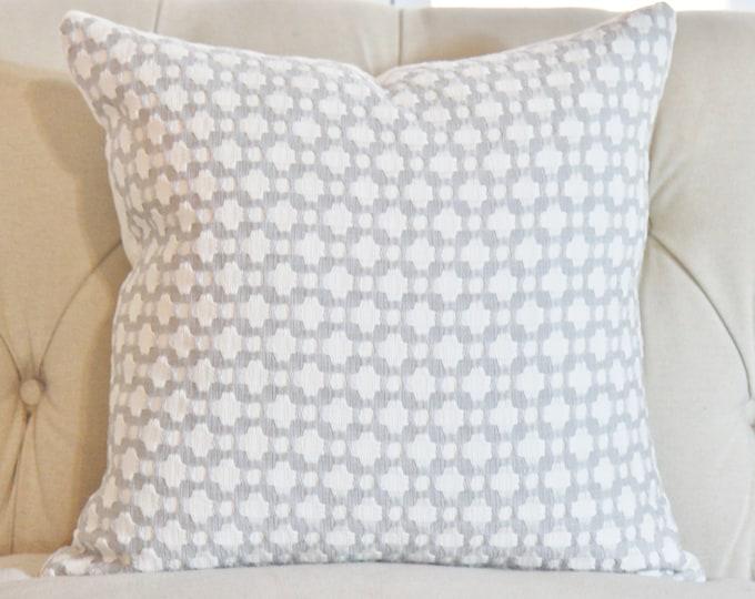 Schumacher - Betwixt Zink - Gray & Off White Pillow Cover - Designer Pillow - Modern Grey Geometric  Throw Pillow - Toss Pillow Cover