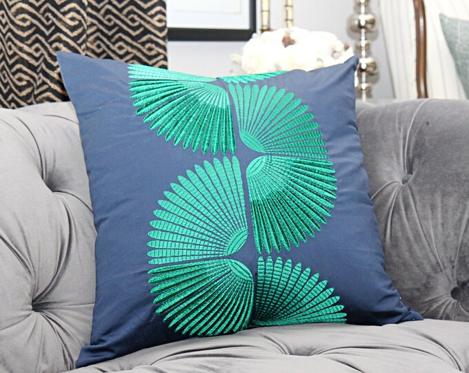 Blue & Emerald Geometric Pillow Cover - Designer Embroidered Blue and Green Pillow Cover - Motif Pillows
