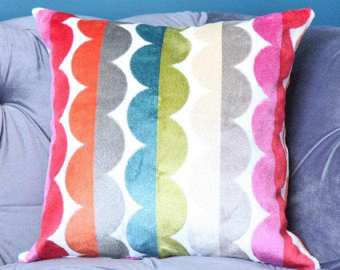 Jonathan Adler Pillow Cover - Modern Red Pink Turquoise Green Yellow - Blue Chartreuse Pillow Cover - Bright