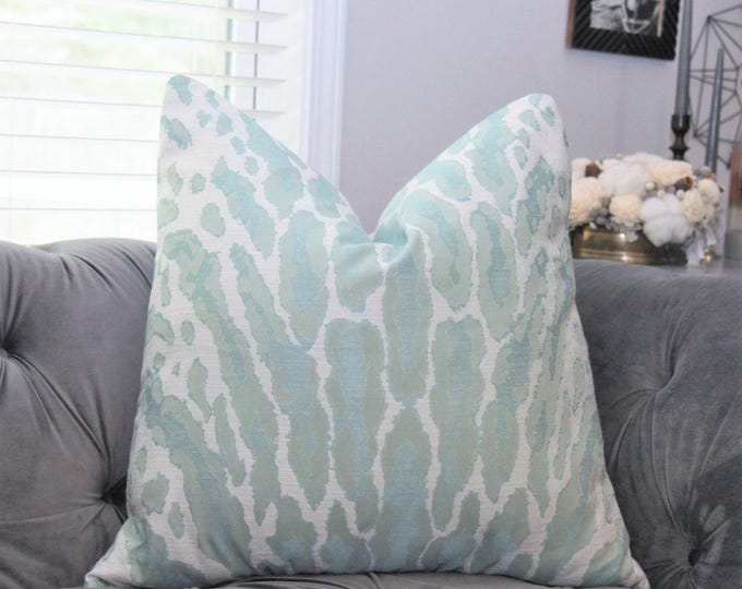 Animal Print Pillow Cover - Aqua Woven Large Scale - Green Blue Animal Throw Pillow - Aqua Beach Decor - Motif Pillows