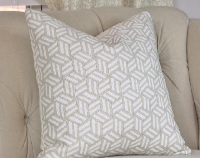 Schumacher Linen Pillow - Tumbling Blocks - Miles Redd - Throw Pillow - Greige Pillow - Motif Pillow - Neutral Pillow