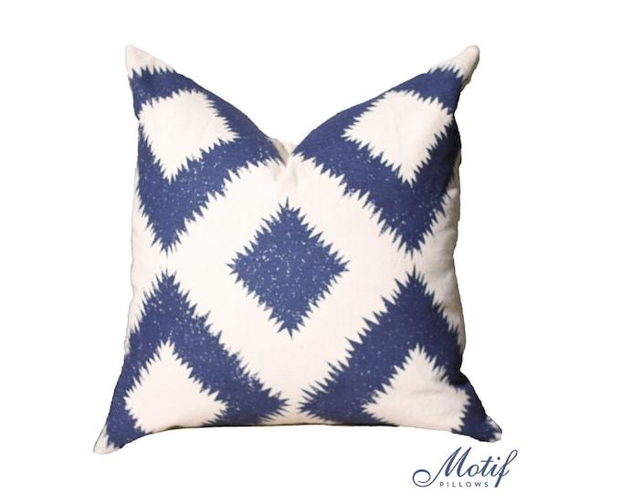 Puka Diamond Pillow Cover - Mary McDonald - Motif Pillow - Blue Cover - Navy Blue Pillow - Marine Blue