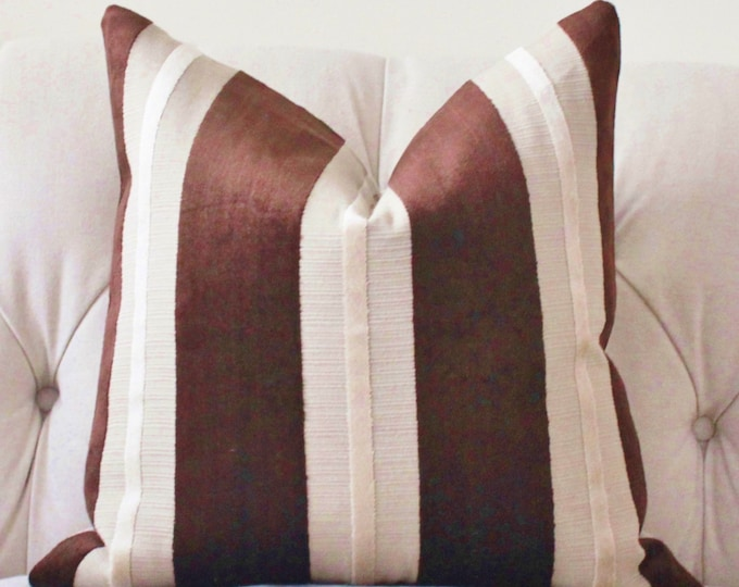 Sale 35.00 - Brown Striped Pillow Cover - Brown & Tan Pillow Cover - Neutral Modern Striped - Dark Brown Pillow Cover