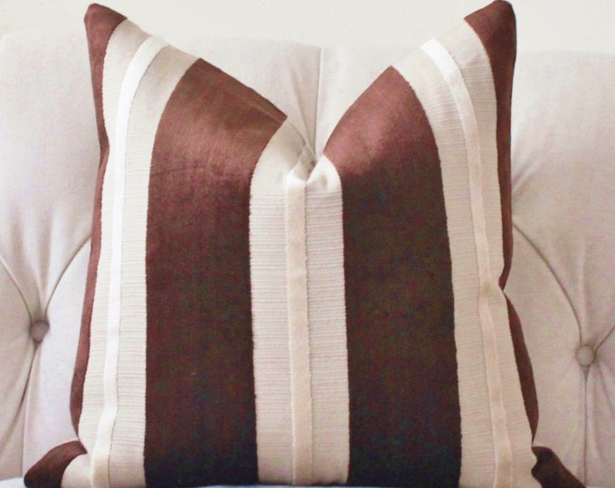 Sale 25.00 - Brown Striped Pillow Cover - Brown & Tan Pillow Cover - Neutral Modern Striped - Dark Brown Pillow Cover
