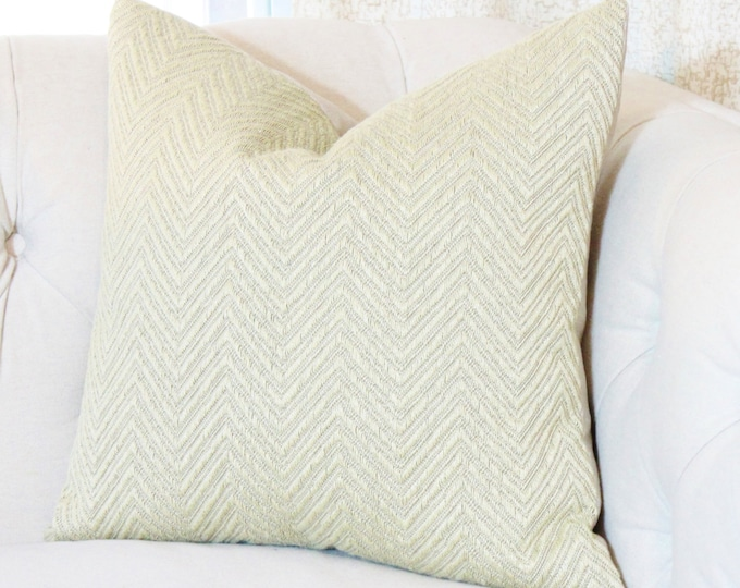 Sale - 35.00 Tan Gold Woven Zig Zag Chevron Pillow Cover - Classic Cloth Pillow Cover - Herringbone Pillow - Gold Pillow