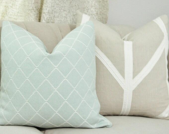 Sale 35.00 - Cowtan and Tout LUMBAR Aqua Blue Green Pillow Cover - Motif Pillow - Toss Cushion - Light Aqua
