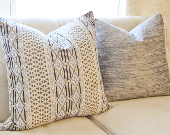 Embroidered Moroccan Block Print Pillow Cover - Gray Ethnic Pillow Cover -Black Blue Beige Clay Grey -  Designer High End Pillow