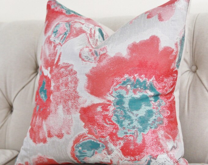 """Sale 18"""" or 20""""  Turquoise and Coral Floral Pillow Cover -  Decorative Throw Pillow - Bright Spring and Summer Pillow"""