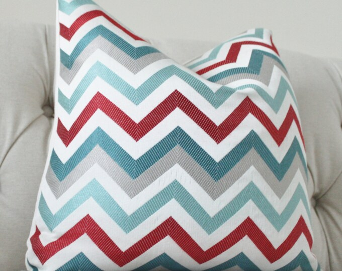 Sale - 35.00 Designer Pillow Cover - Modern Turquoise Aqua Teal Red Grey Jacquard Zig Zag Pillow - Chevron Throw Pillow - Designer Pillow