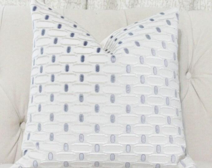 Silver Gray Blue Pillow Cover - Geometric Pillow Cover - Cut Velvet Pillow -Blue Throw Cushion