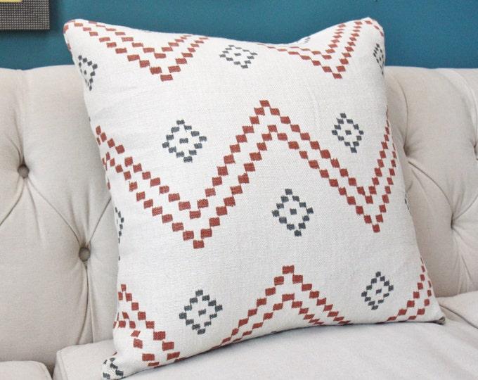 Peter Dunham Pillow Cover - Taj Red and Charcoal - Off White Red Zig Zag Chevron - Boho Southwest Decor- Motif Pillows - Gray Pillow