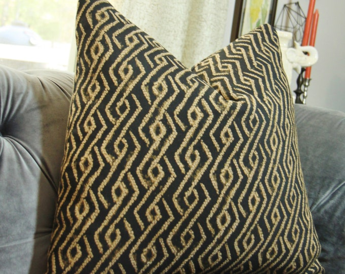 Sale - Black and Gold Pillow Cover - Gold Block Print - Modern Black Pillow Cover - Ikat Stripe Diamond Geometric - African Mud Cloth Style