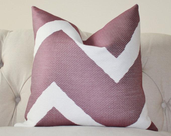 SALE - 18 x 18 or 20 x 20 - Purple Pillow Cover - Purple Geometric Zig Zag - Decorative Chevron - Modern Purple - Grape Purple