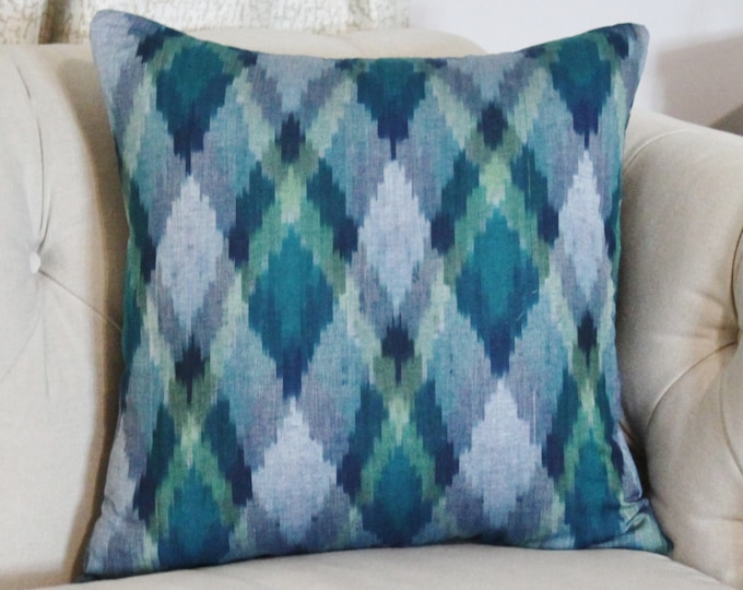 Sale - 35.00 -Ikat Pillow Cover - Blue Hand loomed Pillow Cover - Plaid Ikat - Multi Colored Pillow Cover - Ikat