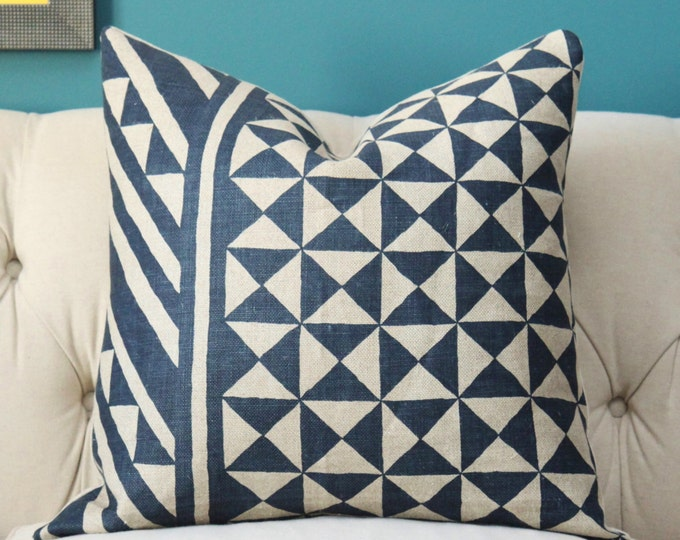 Schumacher Pillow Cover - Blue & Natural Geometric Throw - Indigo and Natural - Motif Pillow - Blue Cover - Navy Blue Pillow - Blue Zig Zag
