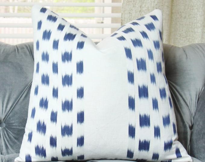Schumacher Dark Blue and White Pillow Cover - Designer Pillow - Blue Throw - Toss Pillow Cover - Ikat Indigo - Stripe Pillow Cover