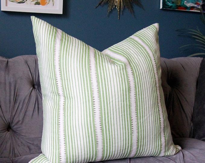 Schumacher Pillow Cover -Schumacher Moncorvo in Leaf - Green Stripe pillow cover