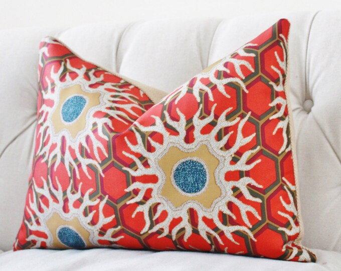 Jim Thompson Pillow Cover - Orange Gold Geometric Pillow Cover - Thaitian Silk Pillow Cover - Designer Geometric Pillow Cover