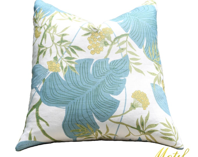 """SALE 25.00 18"""" or 20"""" - Blue and Green Pillow Cover - Palm Leaf Botanical Pillow Cover - Designer Linen Scalamandre Pillow Cover"""