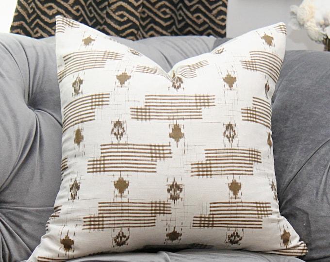 Zak & Fox Designer Linen - Charcoal Bohemian Rust Ikat Modern Pillow Cover - Geometric Neutral Pillow - YAMATO in Gogo