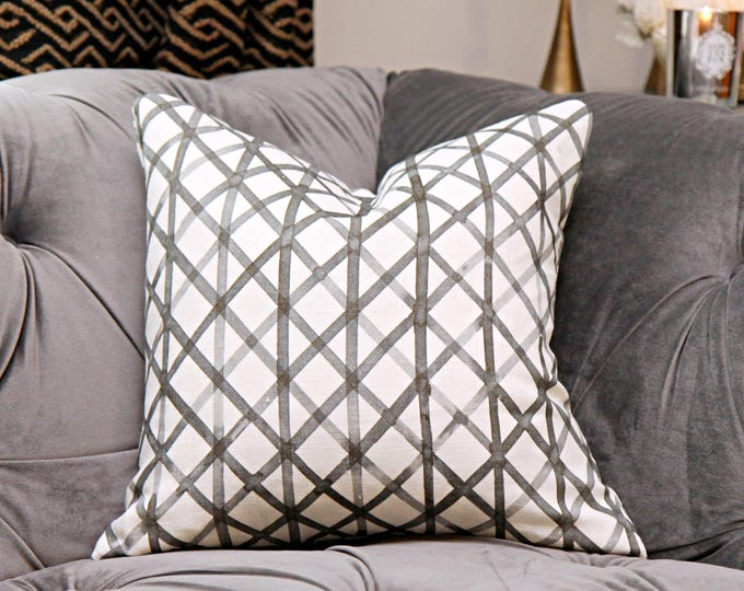 Sale -35.00 Quercus & Co - Crosshatch No. 6 in Black Ink on Linen Pillow Cover - Black and White Designer Pillow Cover