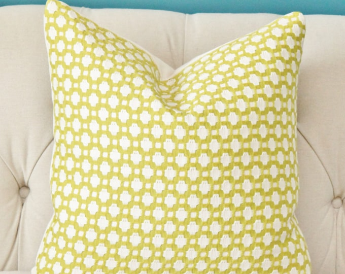 Schumacher Chartreuse Betwixt Pillow - Lime Yellow Green Ivory Pillow- Throw Pillow - Designer Pillow
