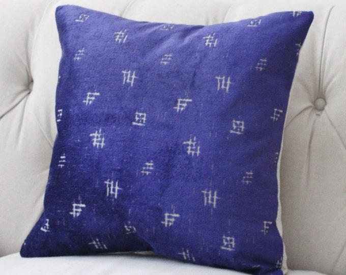 SALE -14 x 20 Indigo Blue -Blue Silver Velvet - Royal Bue Pillow Cover - Blue Home Decor- Mid Century- Rubelli