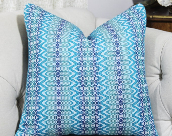 """SALE 35.00 18"""" or 20"""" - Turquoise and Blue Pillow Cover - Blue Geometric - Turquoise Moroccan Designer Throw Cushion - Motif Pillows"""