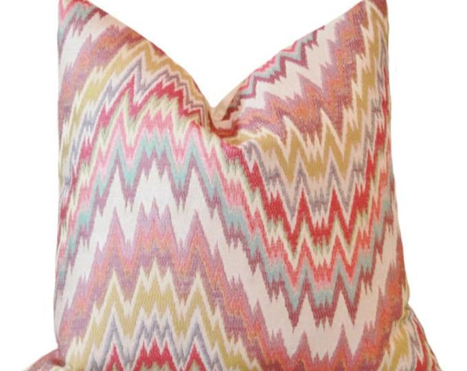 Sale Zig Zag Chevron - Pink Purple Burgundy Chartreuse Green Blue Geometric Ikat Designer Pillow Cover - Moroccan Multi Colored Pillow