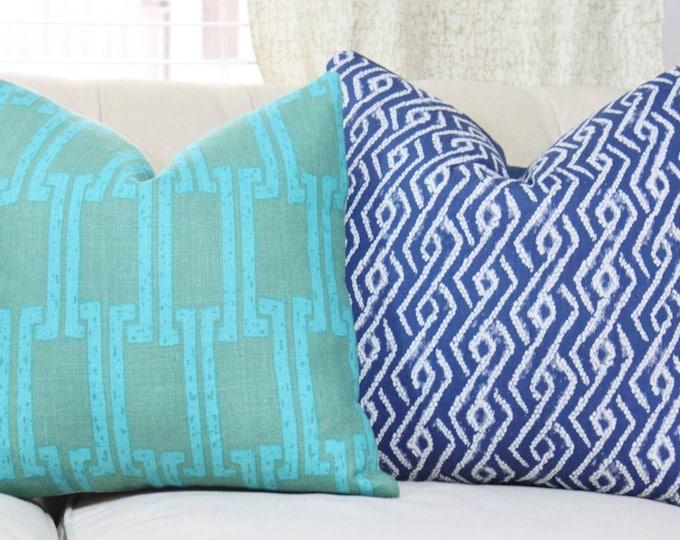 Sale - 35.00 18 x 18 Teal Greek Key Pillow Cover- Designer Green Blue Linen Modern - Aqua and Green Geometric Throw Pillow - Motif Pillows